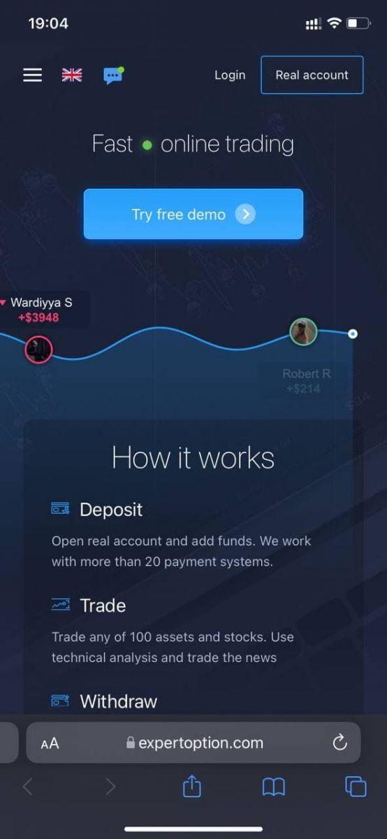 Como abrir uma conta e depositar dinheiro na ExpertOption